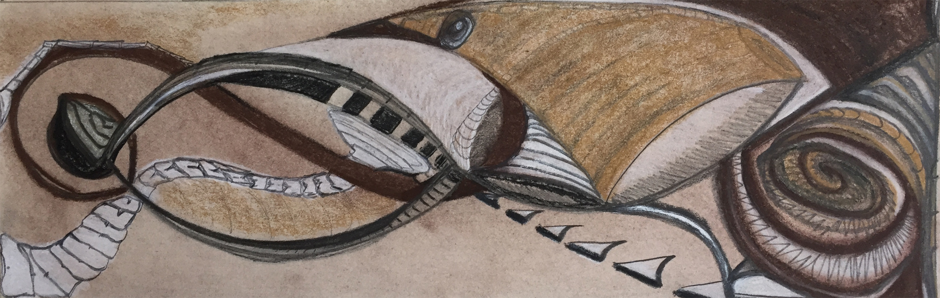 Hatch 1 (Forest), Pencil, Charcoal, Pastel, 4 x 12 in., 2015