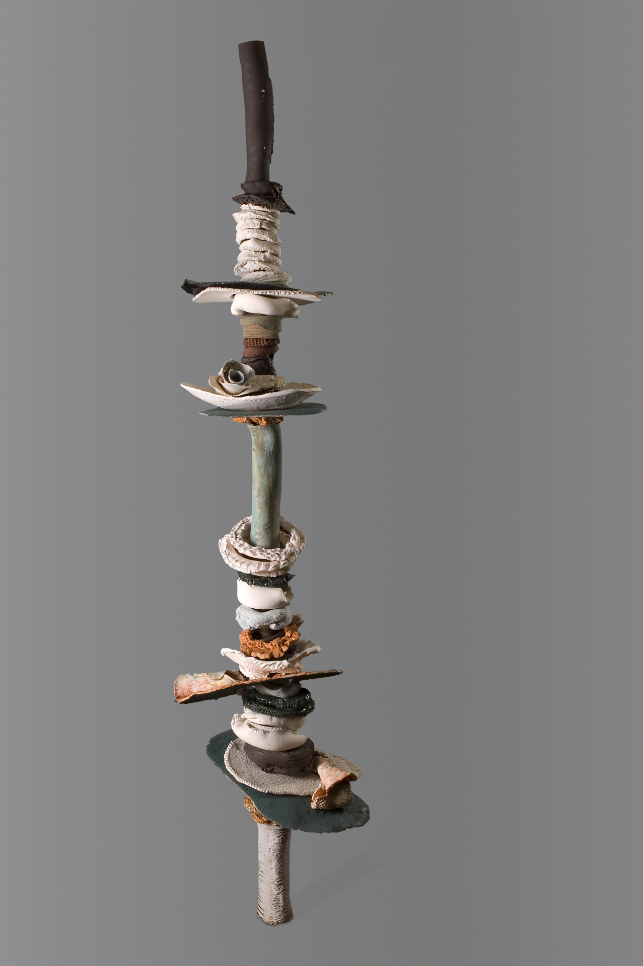 Ringed Tower, Ceramic Assemblage on Steel Armature, 96 x 18 x 24 in., 2013